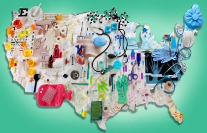 Mapa de Estados Unidos cubiertos de instrumentos médicos