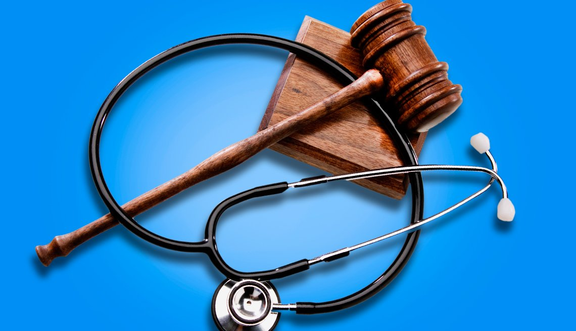 a law gavel and stethoscope