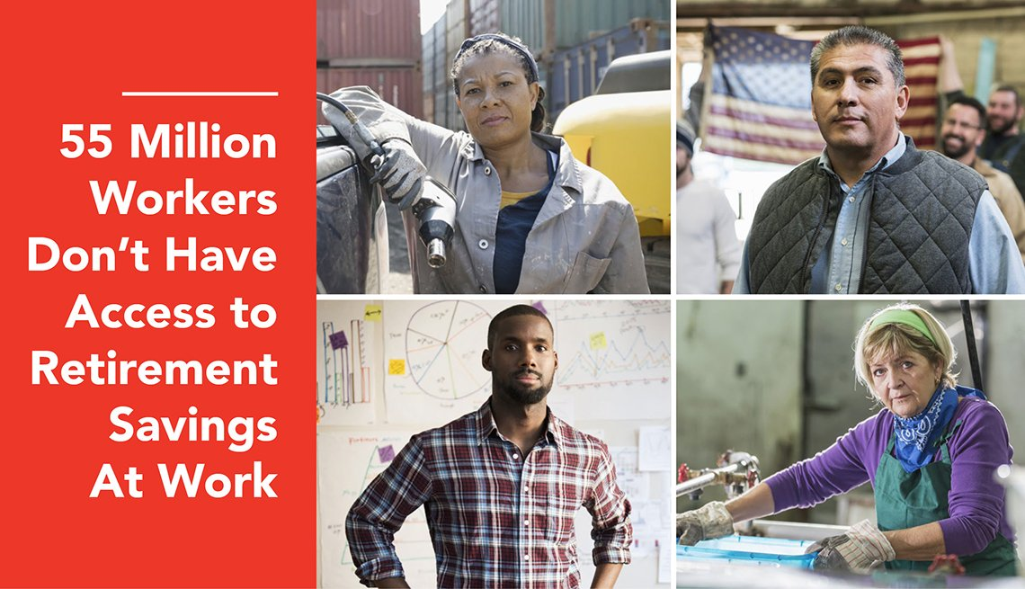 Four workers with text that reads 55 million workers don't have access to retirement savings at work