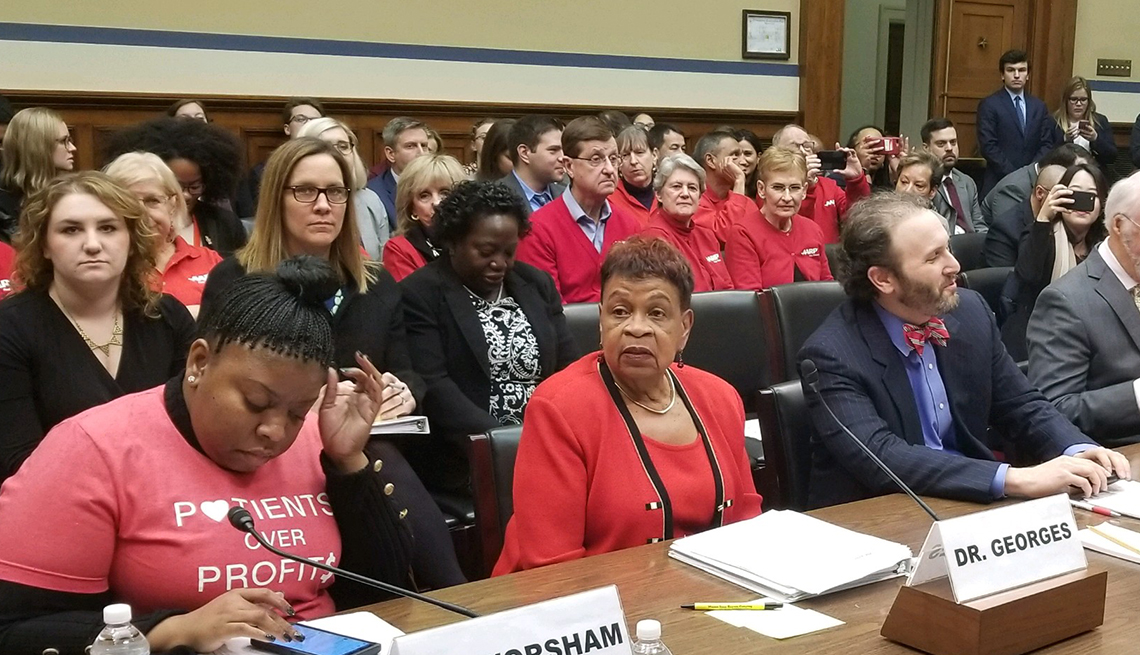 A A R P National Volunteer President Catherine Alicia Georges talks at a hearing