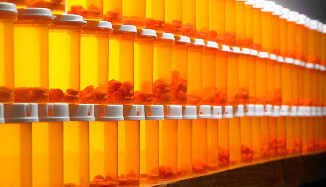 Wall of pill bottles