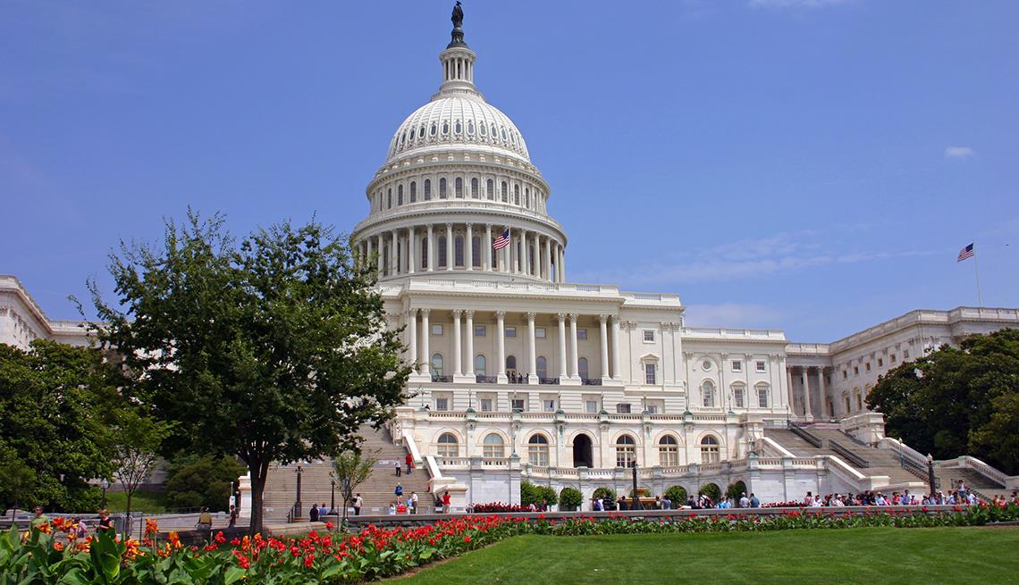Vista frontal del Capitolio en Washington DC