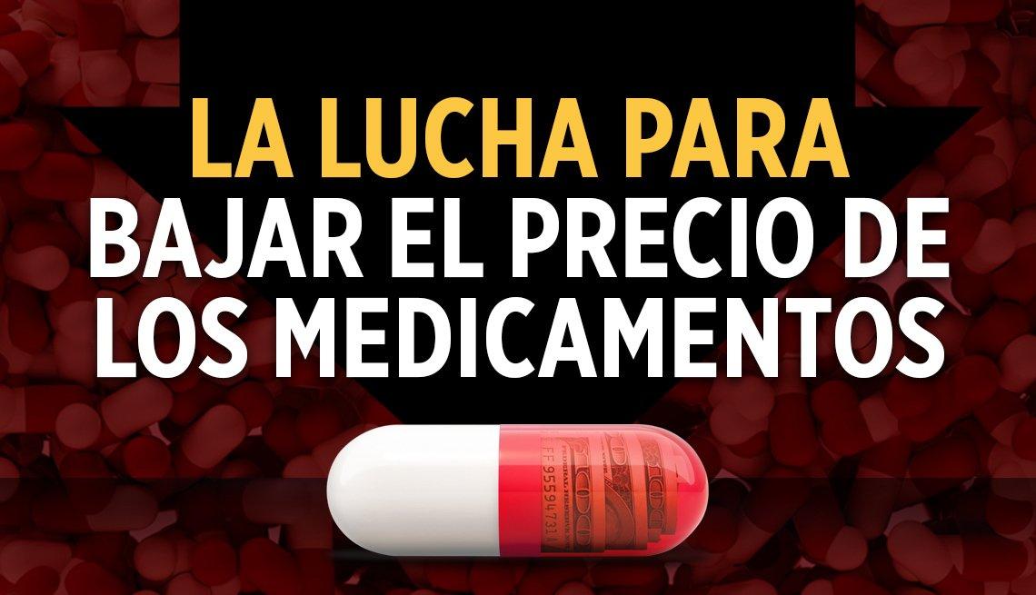 Imagen de una píldora que dice -La lucha para bajar el precio de los medicamentos-