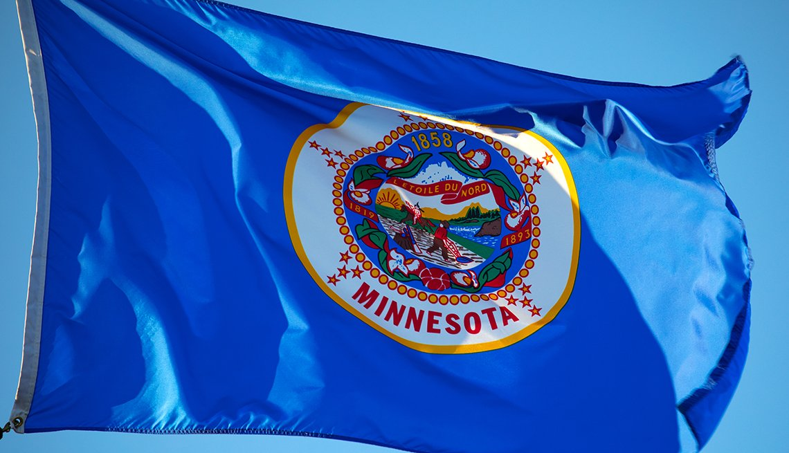Minnesota state flag flying in the breeze