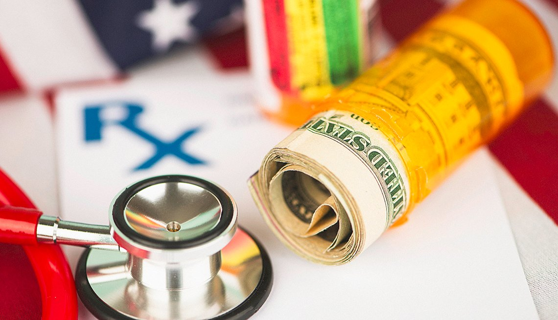 Pills and money on the American flag