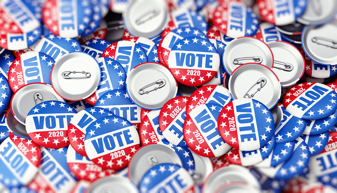 vote twenty twenty badges that are red white and blue with stars at the top and bottom