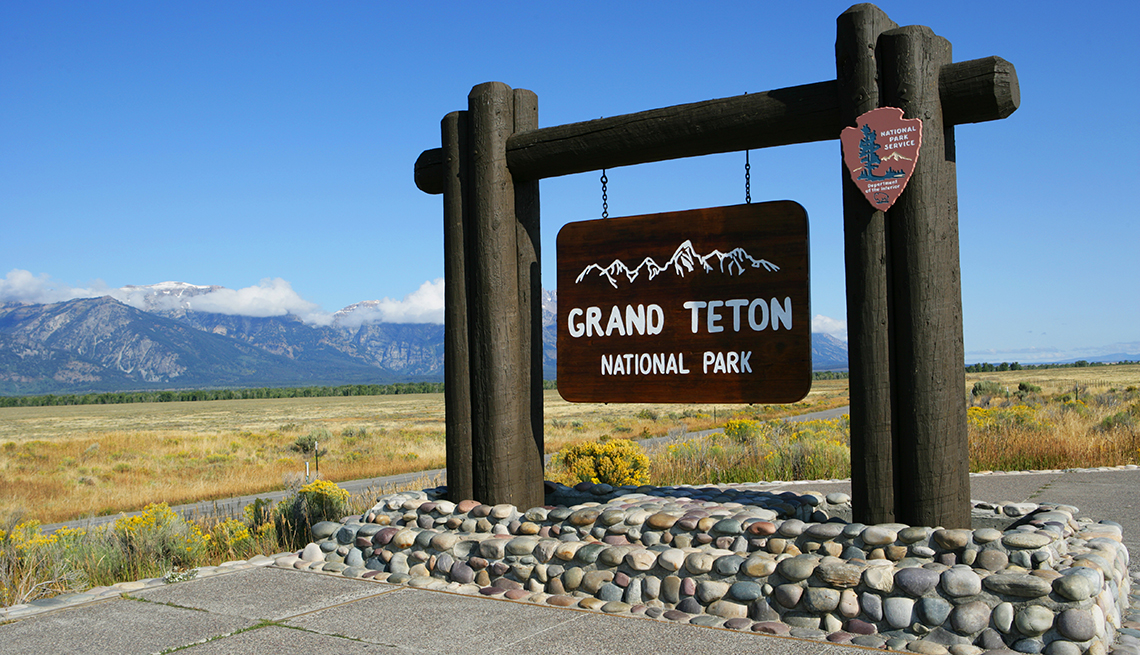 A sign for the Grand Teton National Park