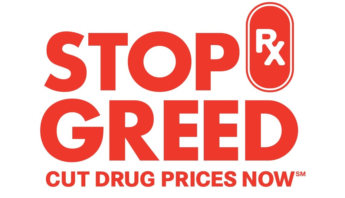 red lettering logo for stop rx greed cut drug prices now