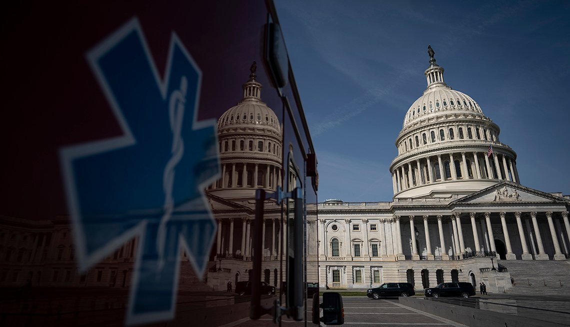 An ambulance sits in front of the U.S. Capitol.