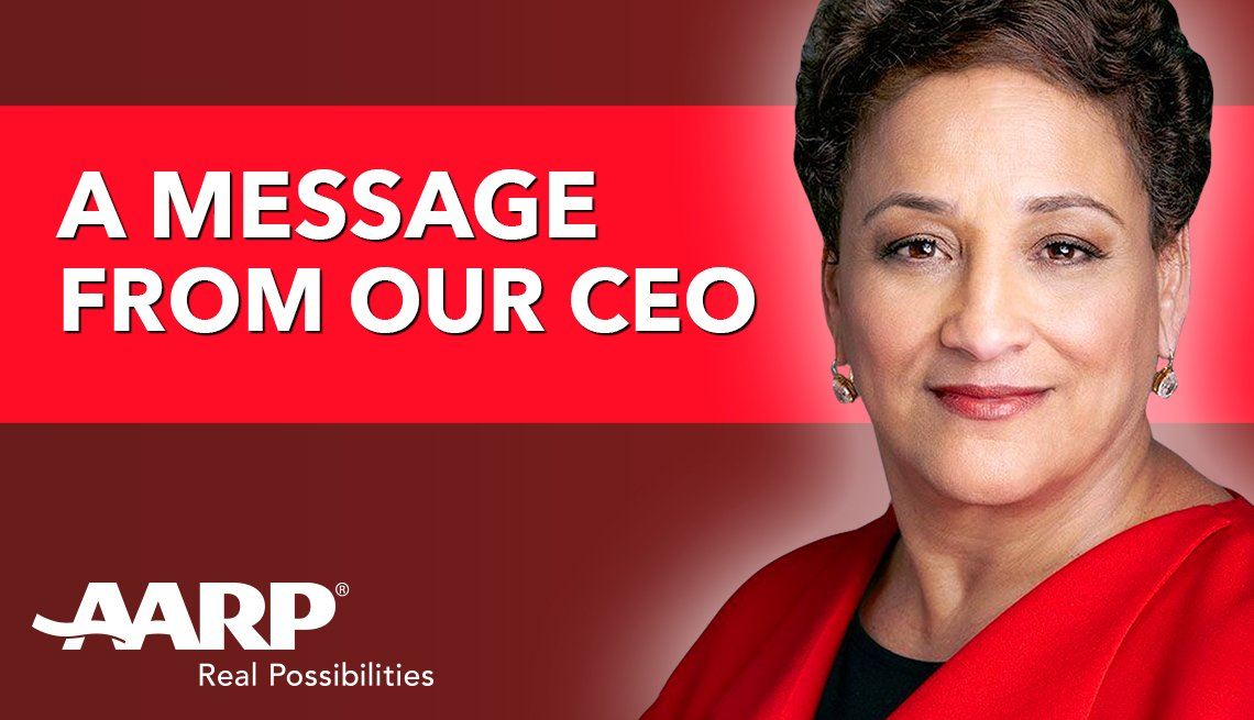 a message from our c e o jo ann jenkins with the a a r p logo and a photo of jo ann