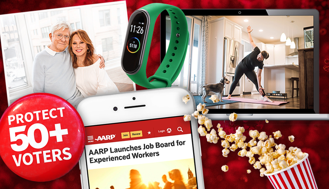 montage of images from this year clockwise from top left are phil donahue and marlo thomas a fitness tracker wristband a laptop showing a person doing a home workout popcorn a mobile with the a a r p app showing and a protect fifty plus voters button