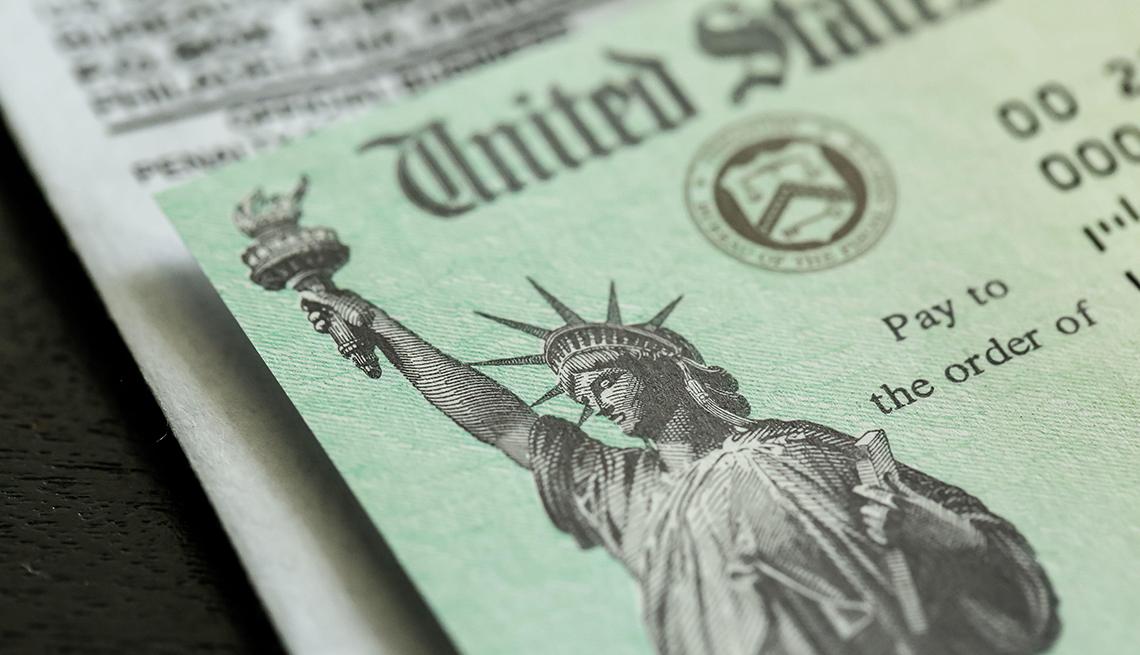 Cheque de estímulo del Departamento del Tesoro de Estados Unidos.