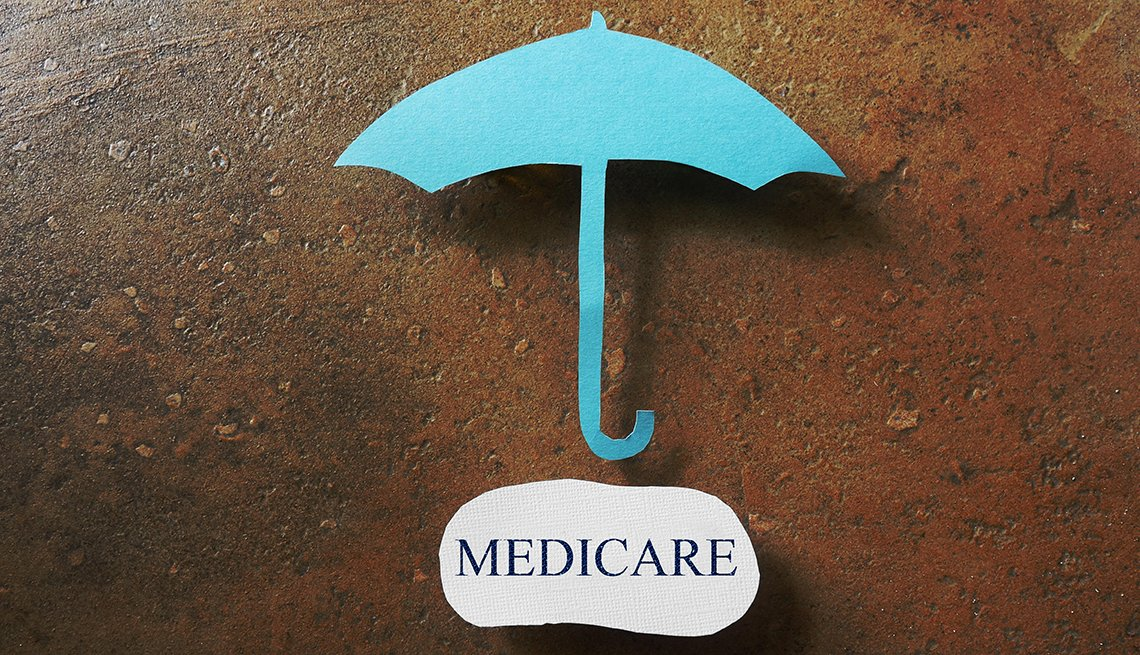 A blue umbrella above a paper that says medicare