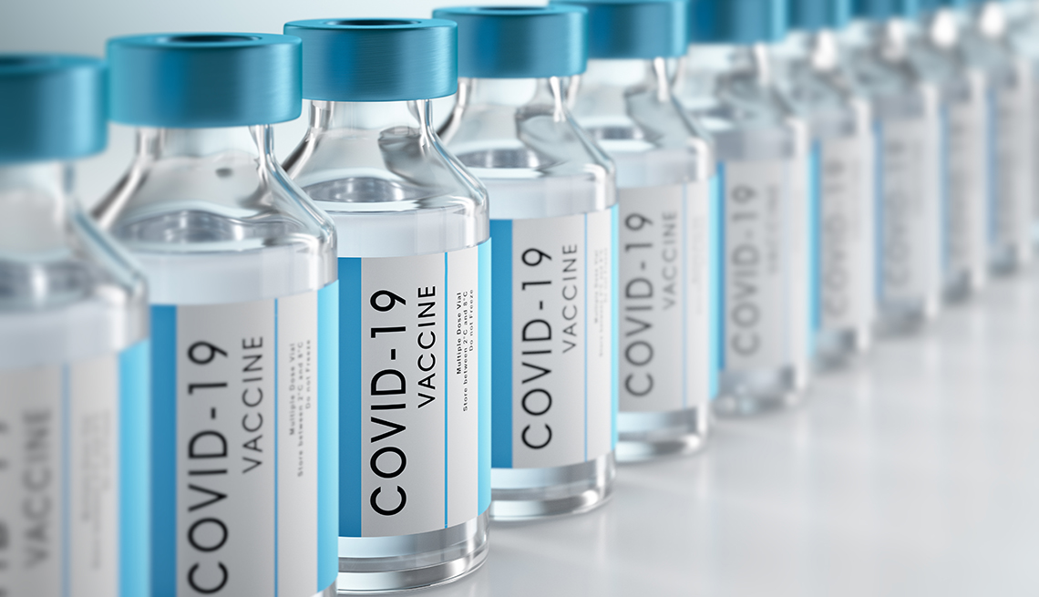 A row of coronavirus vaccine vials