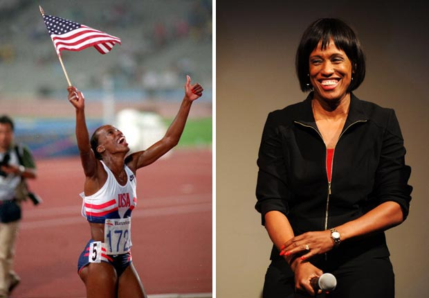 Jackie Joyner Kersee celebrates her gold medal win at the Barcelona Games in 1992. She recently attended the Nike debut of the Team USA apparel on June 14, 2012 in New York City.
