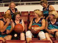 The Tigerettes, 65-75s years old, preparing for the gold-medal competition at the National Senior Games at Stanford University