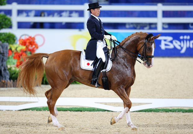 Hiroshi Hoketsu at the Beijing 2008 Summer Olympic Games Dressage Competition.