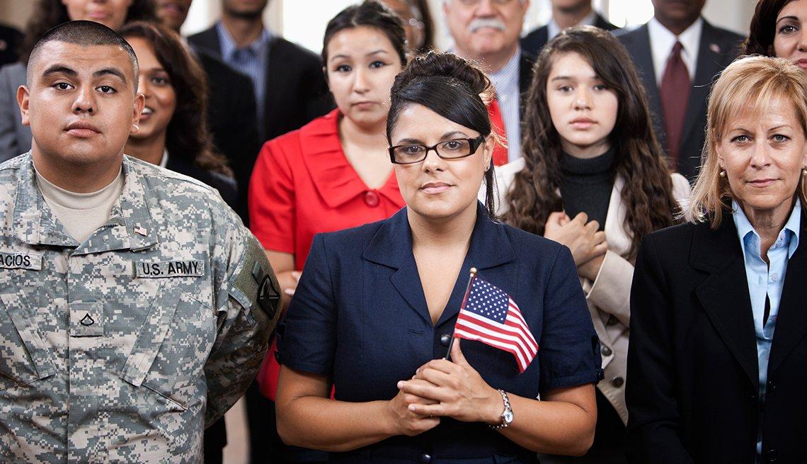 Group Waving American Flag, Hispanic Heritage Month, History Quiz