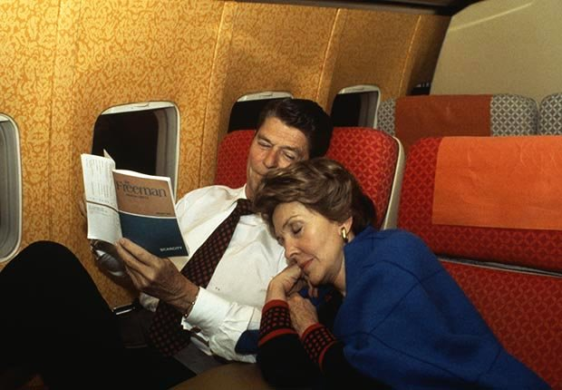 Nancy Sleeping on Shoulder of Husband Ronald Reagan