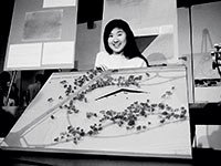 Maya Lin, at 21, with her controversial memorial design.
