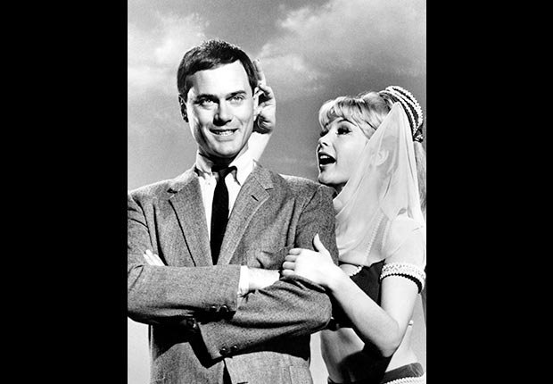 Actors Larry Hagman and Barbara Eden on TV show I Dream of Jeannie.  Hagman died on November 23, 2012.