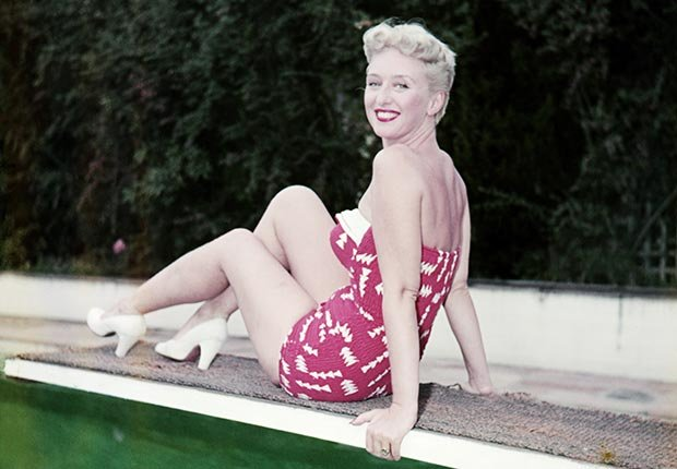 Actress Celeste Holm on diving board.  Holm died on July 15, 2012