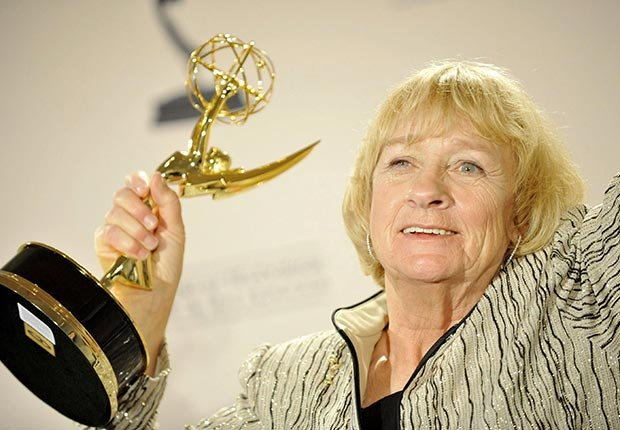 Actress Kathryn Joosten holds Emmy Award.  Joosten died on June 2, 2012.