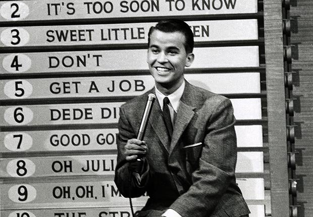 Host Dick Clark on American Bandstand.  Clark died on April 18, 2012.