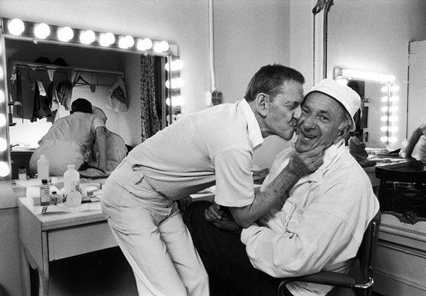 Tony Randall kisses Jack Klugman backstage of The Odd Couple.  Klugman died on December 24 2012.