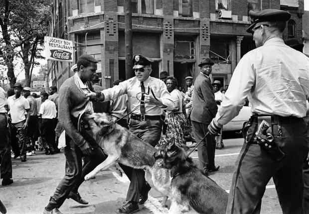 Un manifestante de 17 años de edad que desafia una orden anti-desfile en Birmingham, Alabama, es atacado por un perro policía el 3 de mayo de 1963.
