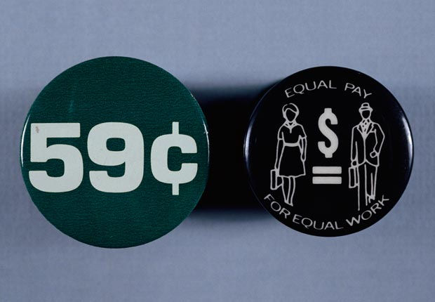 Feminist feminism buttons equal pay rights act work female counterpart cents per dollar Kennedy law 1963