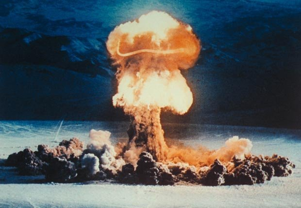 Nuclear Treaty 1963 atomic bomb test desert fire mushroom cloud