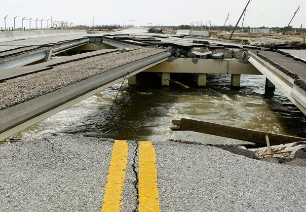 Severe road damage caused by a hurricane, 10 effects of climate change