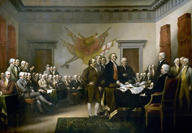 Óleo sobre lienzo de John Trumbell sobre la Declaración de Independencia - 4 de julio en el transcurso de la historia