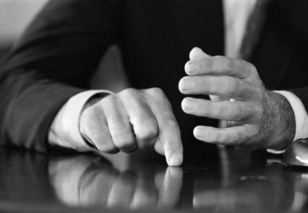 The hands of Sen. John F. Kennedy are shown in this photo taken during the Democratic Presidential Nominee's news conference at the Capitol today.