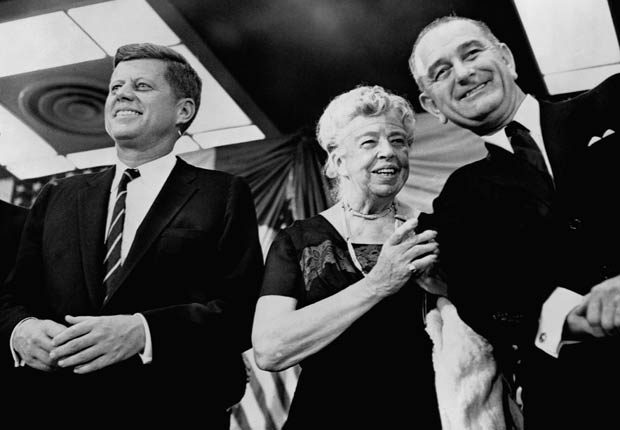 Eleanor Roosevelt appears at a rally at the New York Coliseum in November 1960 in support of presidential candidate John F. Kennedy (left) and his running mate, Lyndon B. Johnson.