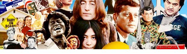 Boomer Icons-Leave it to Beaver-James Brown-Jimi Hendrix-John Lennon-Yoko Ono-JFK-John Belushi
