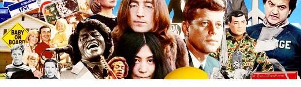 Boomer Icons-Leave it to Beaver-James Brown-Jimi Hendrix-John Lennon-Yoko Ono-JFK-John Belushi