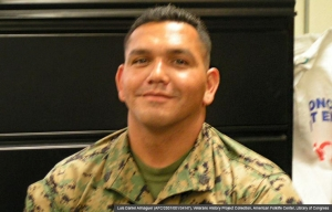 Luis Daniel Almaguer, Seargant, Marines, Iraq War. (Luis Daniel Almaguer (AFC/2001/001/34147), Veterans History Project Collection, American Folklife Center, Library of Congress)