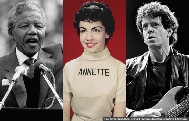 Nelson Mandela, Annette Funicello, Lou Reed (Peter Turnley/Corbis/Hulton Archive/Getty Images/Ebet Roberts/Redferns)