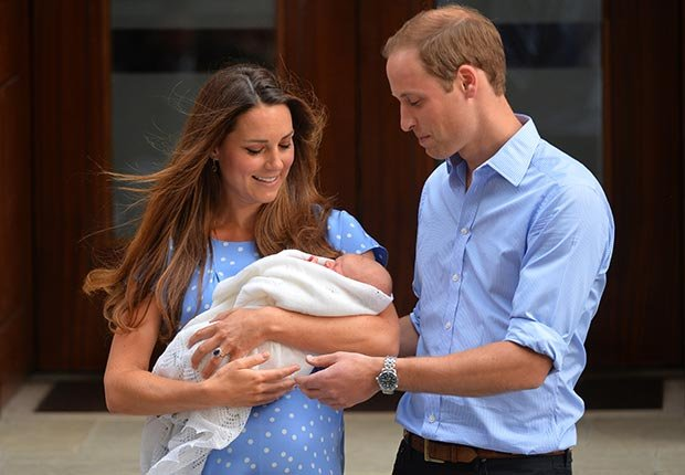 Prince William and Catherine, Duchess of Cambridge, show their new-born baby boy Prince George to the world's media outside the Lindo Wing of St Mary's Hospital in London (AFP/Getty Images)