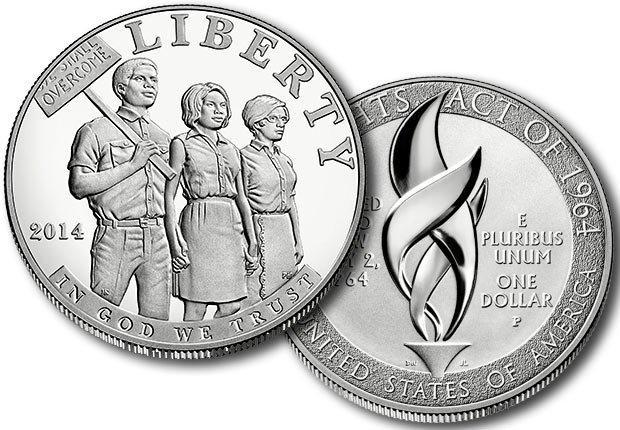 El Dólar de Plata cuenta con tres personas de la mano en una marcha por los derechos civiles - 50 Aniversario de la Ley de Derechos Civiles de 1964