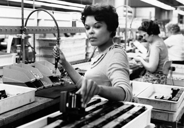 Beverly Boatwright assembles parts for a movie camera on April 7, 1967 in Rochester, N.Y., Golden Jubilee of the 1964 Civil Rights Act