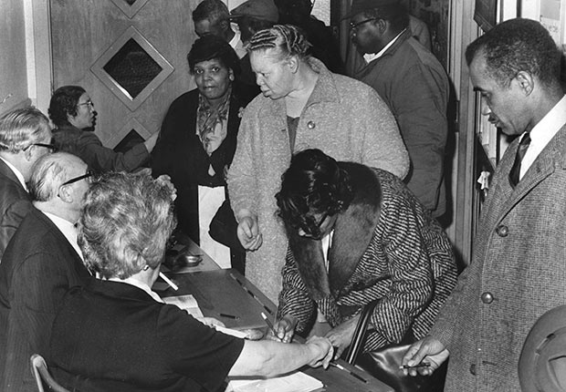 African-Americans registering to vote as part of National Association for the Advancement of Colored People voter registration drive, April 7, 1964., Golden Jubilee of the 1964 Civil Rights Act