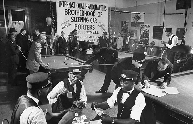 Uniformed African-American railroad porters playing pool & cards while relaxing at Brotherhood of Sleeping Car Porters HQ in Harlem, Historical Review of Leading Black Civil Rights Organizations