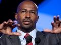 Van Jones, special advisor for green jobs, enterprise and innovation with the White House Council on Environmental Quality, speaks at a session during the National Summit in Detroit, Michigan.