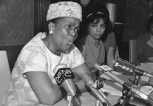 Ella Baker, official of the Southern Conference Educational Fund, speaks at the Jeannette Rankin news conference on Jan. 3, 1968.