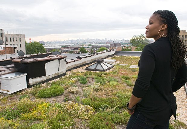 Environmentalist Majora Carter on her green roof  in the South Bronx