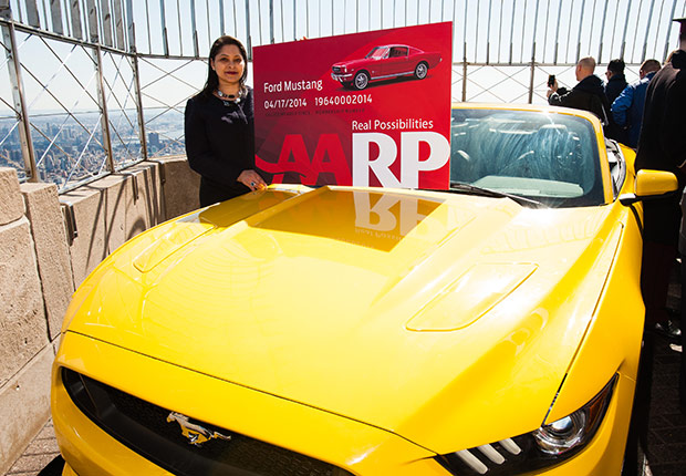 Ford Mustang turns 50, gets AARP card on top of the Empire State building.