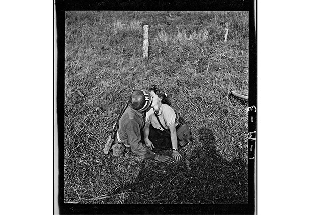 A solder and woman kiss on the day of the release of Dol-de-Bretagne, Ille-et-Vilaine, Brittany on August 7, 1944.